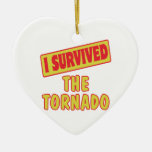 I SURVIVED THE TORNADO Double-Sided HEART CERAMIC CHRISTMAS ORNAMENT