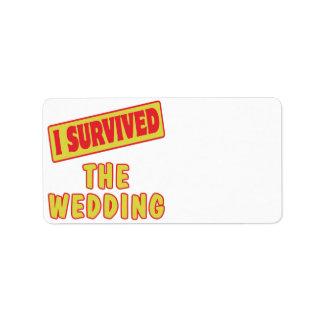 I SURVIVED THE WEDDING CUSTOM ADDRESS LABEL