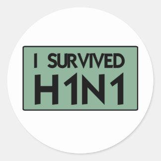 I Survived to H1N1 Round Sticker