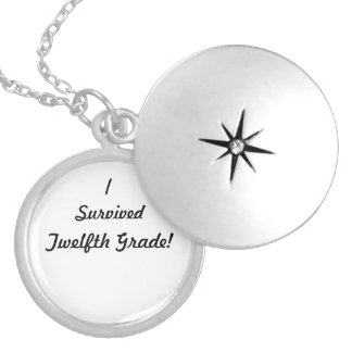 I survived Twelfth Grade! Round Locket Necklace