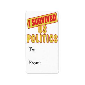 I SURVIVED US POLITICS ADDRESS LABEL