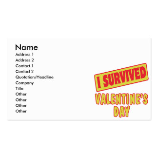 I SURVIVED VALENTINES DAY BUSINESS CARD TEMPLATE