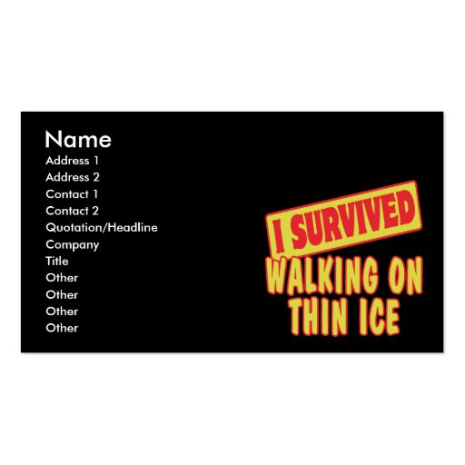 I SURVIVED WALKING ON THIN ICE Double-Sided STANDARD BUSINESS CARDS (Pack OF 100)