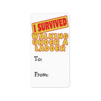 I SURVIVED WALKING UNDER A LADDER LABEL