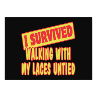 I SURVIVED WALKING WITH LACES UNTIED PERSONALIZED ANNOUNCEMENTS