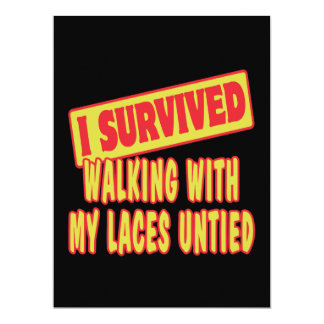 I SURVIVED WALKING WITH LACES UNTIED CUSTOM INVITE