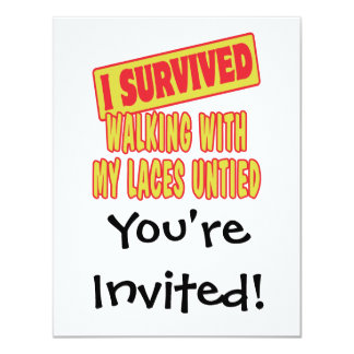 I SURVIVED WALKING WITH LACES UNTIED CUSTOM INVITES
