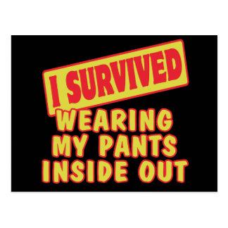 I SURVIVED WEARING PANTS INSIDE OUT POSTCARD