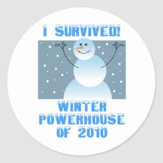 I Survived! Winter Powerhouse of 2010 Classic Round Sticker