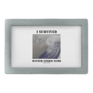 I Survived Winter Storm Nemo (NASA Outer Space) Rectangular Belt Buckle