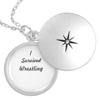 I survived wrestling! round locket necklace