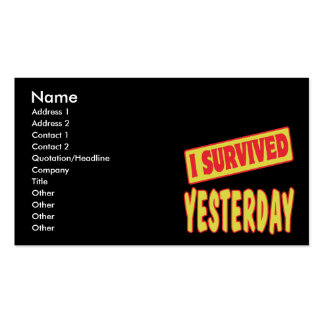 I SURVIVED YESTERDAY BUSINESS CARD TEMPLATE