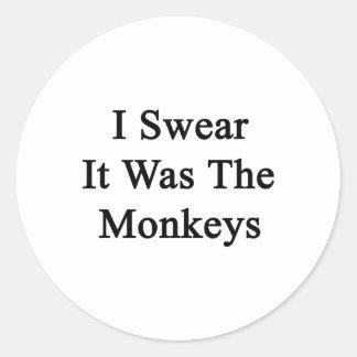 I Swear It Was The Monkeys Classic Round Sticker