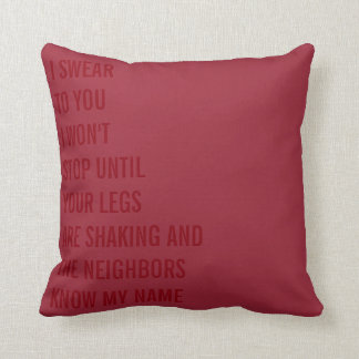 I Swear Naughty Wedding Throw Pillow for the Bride