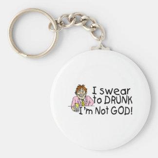 I Swear To Drunk Im Not God (Drunk Man) Basic Round Button Keychain