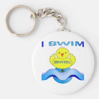 I Swim Basic Round Button Keychain