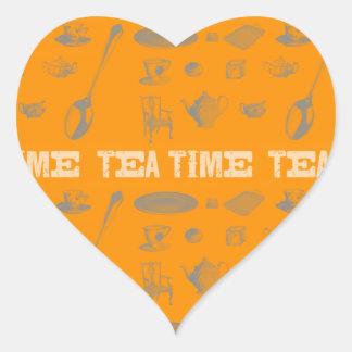 I´t´s Vintage Tea time! Heart Sticker