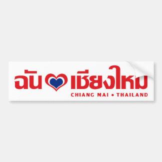 I ❤ Tailandia de Chiang Mai del corazón amor Etiqueta De Parachoque