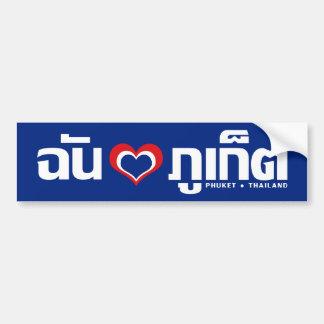 I ❤ Tailandia de Phuket del corazón amor Etiqueta De Parachoque