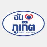 I ❤ Tailandia de Phuket del corazón (amor) Colcomanias Ovaladas Personalizadas