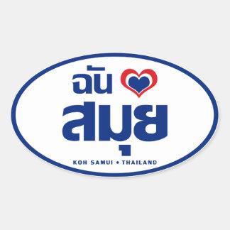 I ❤ Tailandia de Samui de la KOH del corazón Calcomanías Ovales