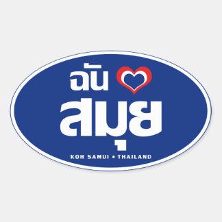 I ❤ Tailandia de Samui de la KOH del corazón Calcomanías De Ovales Personalizadas