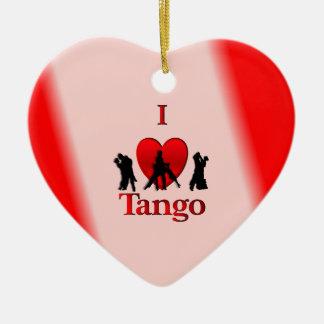 I tango del corazón adorno navideño de cerámica en forma de corazón