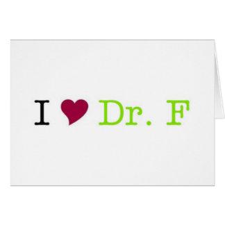 I tarjeta de nota del Dr. F del corazón