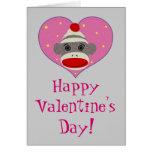 I tarjeta del mono del calcetín del corazón