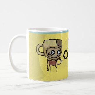 I taza de la barra de oro del muchacho del café de