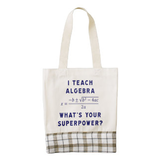 I Teach Algebra / What's Your Superpower? Zazzle HEART Tote Bag
