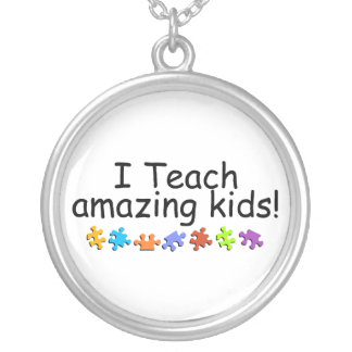 I Teach Amazing Kids (Autism Puzzle) Silver Plated Necklace