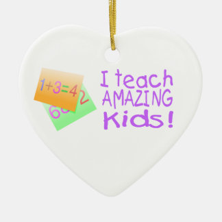 I Teach Amazing Kids Double-Sided Heart Ceramic Christmas Ornament