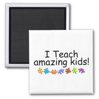 I Teach Amazing Kids (Puzzle) 2 Inch Square Magnet