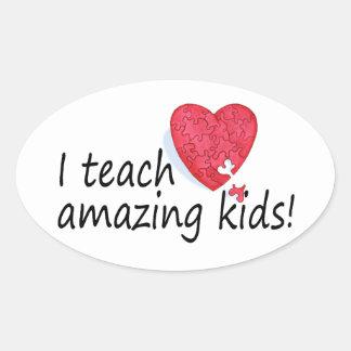 I Teach Amazing Kids Oval Sticker