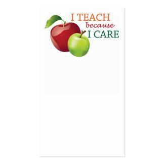 I Teach Because I Care Tall Business Card