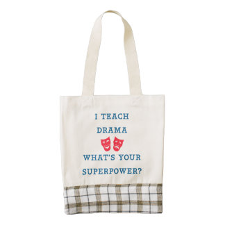 I Teach Drama What's Your Superpower? Zazzle HEART Tote Bag