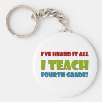 I Teach Fourth Grade Keychain