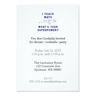 I Teach Math What's Your Superpower? 5x7 Paper Invitation Card