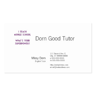 I Teach Middle School What's Your Superpower? Business Card