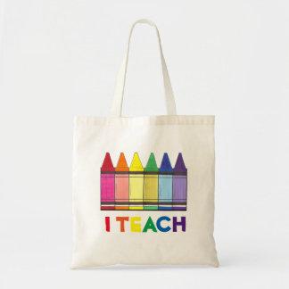 I Teach Rainbow Crayons Teacher Tote Bag