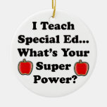 I Teach Special Ed. Double-Sided Ceramic Round Christmas Ornament