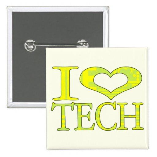 I tecnología del corazón pin cuadrada 5 cm