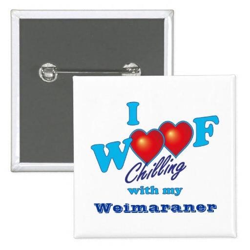 I tejido Weimaraner Pin Cuadrada 5 Cm