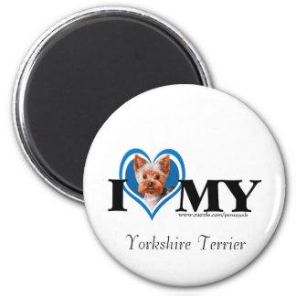 I Terrier-Azul-Imán de Yorkshire del corazón Imán Redondo 5 Cm