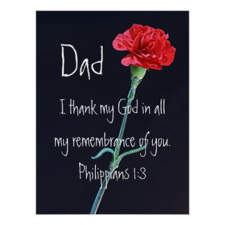 I thank my God bible verse for Dad red carnation Poster