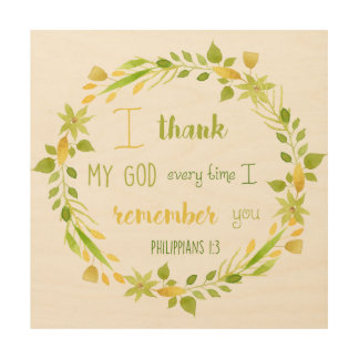I thank my God Philippians Christian Bible wood Wood Wall Art
