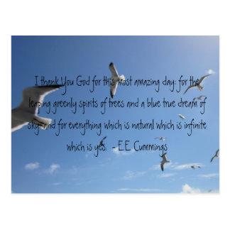 I Thank You God...E.E. Cummings Postcard