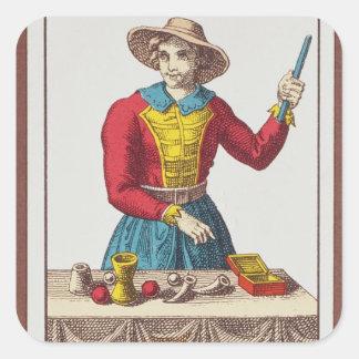 I The Magician, seven tarot cards Square Sticker