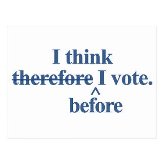 I think before I vote Democratic blue Postcard